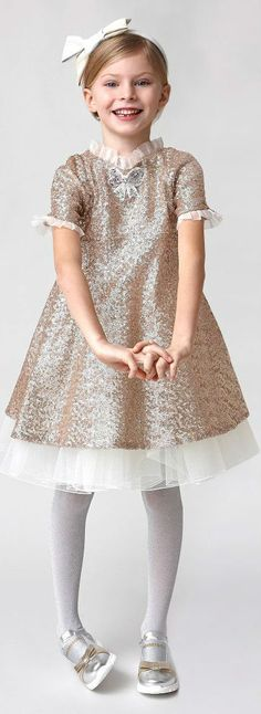LOVE!!!! MI MI SOL Girls Gold Sequin & Silk Party Dress. Perfect for New Years Celebrations! #newyear #kidsfashion #dress #party