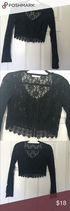 Black lace crop top! Black lace crop top. Like new...wore once or twice. Purchased from Nordstrom. Size extra small and with fit someone very petite on top. Urban Outfitters Tops Crop Tops