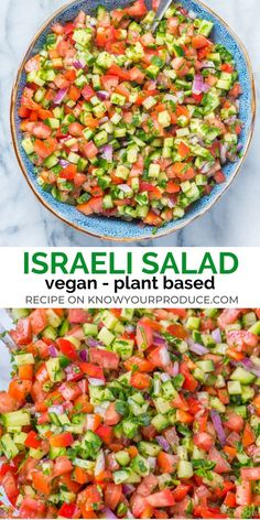 Israeli Salad is a must make Middle Eastern Recipe that is full of flavor! This … Israeli Salad is a must make Middle Eastern Recipe that is full of flavor! This side dish salad similar to Shirazi Salad (Persian Cucumber and Tomato Salad). Whole Foods, Whole Food Recipes, Cooking Recipes, Pasta Salad Recipes, Healthy Salad Recipes, Lunch Recipes, Mexican Salad Recipes, Side Salad Recipes, Tasty Vegetarian Recipes