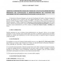 UNIVERSIDADE FEDERAL DE CAMPINA GRANDESECRETARIA DE RECURSOS HUMANOSCOORDENAÇÃO DE GESTÃO E DESENVOLVIMENTO DE PESSOASEDITAL CGDP/SRH Nº 15/2013ABERTURA E D. http://slidehot.com/resources/edital-de-atualizacao-em-gestao-publica.38543/