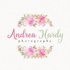 photography logo watercolor flower logo by stylemesweetdesign