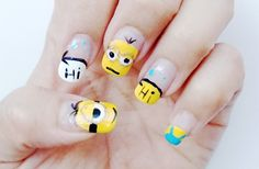 "Despicable Me - Minion Nail Art Design. Inspired by ""Hello Lilys"" from youtube."