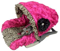 Princess Cheetah Hot Pink 3D Roses Infant Car Seat Cover