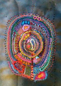 Mandala Embroidery by textile artist Caoime Friel Embroidery Applique, Embroidery Stitches, Embroidery Patterns, Textile Fiber Art, Textile Artists, Thread Art, Fabric Art, Needlework, Weaving