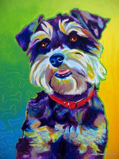 Colorful Pet Portrait Miniature Schnauzer Dog Art by dawgpainter, $12.00