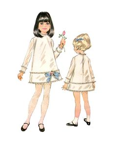 Vintage 1960s McCalls 8995 Girls A Line Dress with Slip Sewing Pattern Size 2
