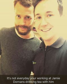 New Jamie fan pic today (Jan. 3, 2017). @Regrann from @ryan_keeling23 -  Apparently i was working at Jamie Dornan the 50 shades of grey actors again so managed a selfie and cup of tea off him, said he should jack in the acting cuss he makes one hell of a brew👌☕️ #jamiedornan #50shadesofgrey #mrgrey #Regrann  #jamieDornan #ameliawarner #dakotajohnson