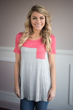 Coral Pocket Top – The Pulse Boutique