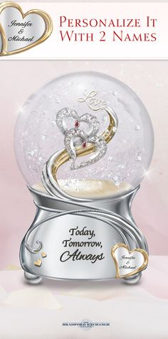 Honor the love you share with this personalized glitter globe featuring your 2 engraved names.
