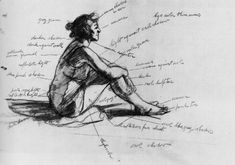 Edward Hopper study drawing for Morning Sun (1952) with numerous value notes.... Love this sketch & the notes. Next SKETCHBOOK assignment: sketches with value notes.