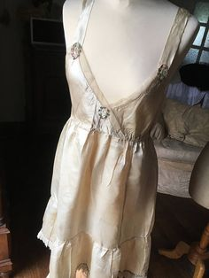 c27f7d3820 Romantic French Antique Ivory Silk   Tulle Embroidered Slip or Nightdress    Elegant Feminine Utterly French   1900s Embroidered Nightdress