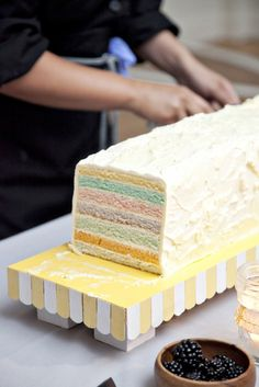 striped cake, oblong though so the layers show in each slice @Kate Hart