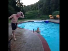 Old man fails at pool dive!