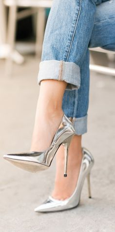 denim + silver heels