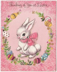 Vintage Greeting Card Easter Eggs Cute White Bunny Rabbit Forget-Me-Not a205: