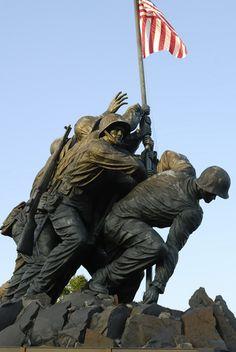 The Iwo Jima Memorial in Arlington, Virginia is across the Potomac River from Washington DC. (WWII)