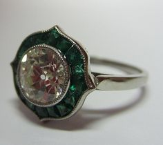 Emerald and Diamond Ring | Keil's Antiques | New Orleans | Since 1899