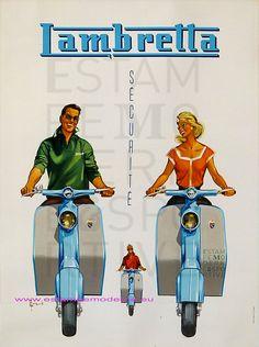 Vintage Italian Posters ~ #illustrator  #Italian #posters ~ Couronne Lambretta