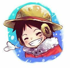 Monkey D. Luffy, smiling, cute, chibi, snowing, winter; One Piece