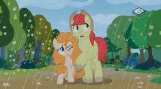 #1468143 - bright mac, pear butter, rain, safe, screencap, spoiler:s07e13, the perfect pear - Derpibooru - My Little Pony: Friendship is Magic Imageboard