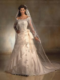 satin tulle bead lace plus size wedding dresses with sleeves