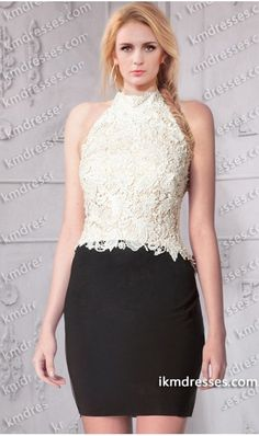 http://www.ikmdresses.com/luminous-pearls-dotted-halter-neck-short-color-block-lace-bodice-dress-p60884