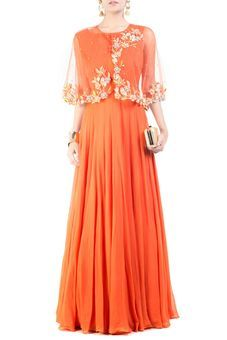 Bright Orange Cape Princess Gown by Anushree Agarwal, Western Gowns