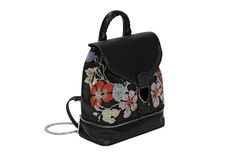 Best of Resort 2016 - Alexander McQueen black floral needlepoint and leather backpack with zip-bottom compartment