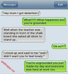 Hilarious Text Message About Idiot vs Detention