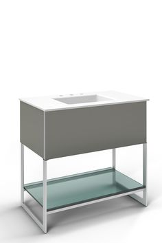 "Robern Adorn 36-1/4"" x 34-3/4"" x 21"" vanity in tinted gray mirror with push-to-open plumbing drawer, night light, towel bar on right side, legs in brushed aluminum and 37"" stone vanity top in quartz white with integrated center mount sink and 8"" widespread faucet holes"