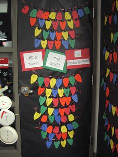 Idea for decorating your classroom door this holiday season!  Saw the lights hanging from another teacher on Pinterest...