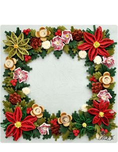 Amazing Christmas wreath from Botanical Quilling Japan