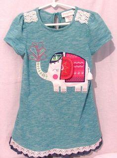 Emily Rose Size 8 Teal Blue Green Dress Asian Elephant Applique Short Sleeve #EmilyRose #Dress #EasterDressyEverydayParty