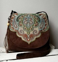 Brown messenger bag Oriental messenger bag Boho bag Vegan Hippie Bags 5b88a4c32e8d0