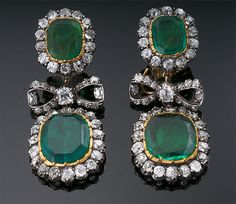 Antique Colombian Emerald and Diamond Earrings| Fashion Jewelry Antique | Rosamaria G Frangini