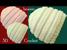 Gorro a Crochet en punto acordeón 3D tejido tallermanualperu - YouTube