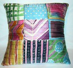 painted silk cushion