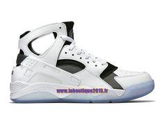 Officiel Nike Air Flight Huarache - Chaussure de Nike Basket-ball Pour Homme Blanc/Noir/Bleu-gris 705005-100