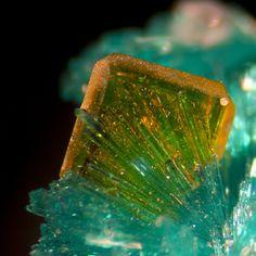 Dioptase and Wulfenite from Arizona (by Bob Simonoff)