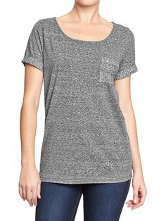 Women's Marled Cuffed-Sleeve Tops Product Image