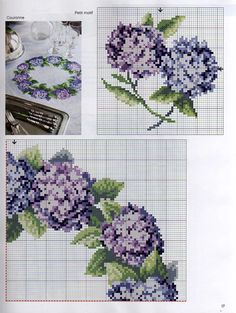 Cross stitch pattern. Flower wreath. Hydrangea.