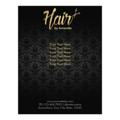 "Modern Gold Script Damask Hair Salon Brochures 8.5"" X 11"" Flyer"