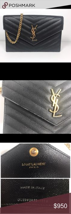 3181b919c1 Yves Saint Laurent Wallet on Chain Classic YSL front flap wallet with  removable leather and metal chain