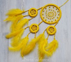 Yellow Dream Catcher Dreamcatcher with Jade by DreamsByEleanora