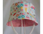 """""""All Girl Blue & Confetti Pink"""" Children's Hat (Bucket style) A$20.00 (includes post to Australian addresses - international postage additional)"""