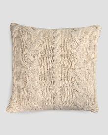 "Vanilla Cable Knit Decorative Pillow  20"", Main View"