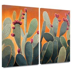 'Cactus Orange' by Rick Kersten 2 Piece Painting Print Gallery-Wrapped on Canvas Set