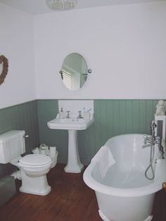 Traditional bathroom Tongue and groove painted in Farrow and Ball's Castle Grey Traditional Bathroom, Property Renovation, Home, Tongue And Groove, Country Cottage, Bathroom, Property, Renovations, Bathtub