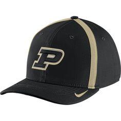 4b659934 Nike Men's Purdue Boilermakers Black Aerobill Swoosh Flex Classic99  Football Sideline Hat
