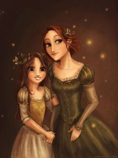 I truly love brunette Rapunzel better. Rapunzel and her daughter. Disney Rapunzel, Tangled Rapunzel, Arte Disney, Disney Art, Princess Rapunzel, Disney Images, Rapunzel Und Eugene, Rapunzel And Flynn, Disney And Dreamworks